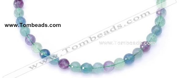 CFL14 16 inch A- grade 10mm faceted round natural fluorite beads