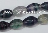 CFL158 15.5 inches 10*15mm rice natural fluorite gemstone beads