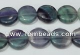 CFL164 15.5 inches 14mm coin natural fluorite beads wholesale