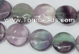 CFL165 15.5 inches 16mm flat round natural fluorite beads wholesale