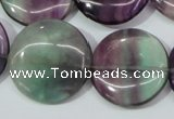 CFL168 15.5 inches 25mm flat round natural fluorite beads wholesale
