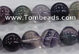 CFL205 15.5 inches 14mm round purple fluorite gemstone beads wholesale
