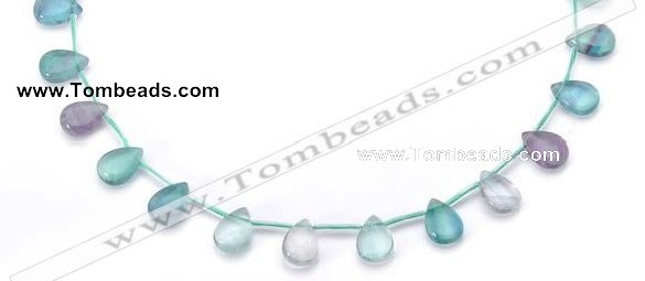 CFL24 10*14mm teardrop A- grade natural fluorite gemstone beads