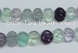 CFL300 15.5 inches 8*10mm carved rondelle natural fluorite beads