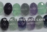 CFL315 15.5 inches 10*16mm faceted rondelle natural fluorite beads