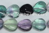 CFL317 15.5 inches 15*15mm heart natural fluorite beads wholesale