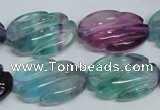 CFL321 15.5 inches 16*24mm carved oval natural fluorite beads