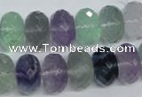 CFL341 15.5 inches 10*14mm faceted rondelle natural fluorite beads
