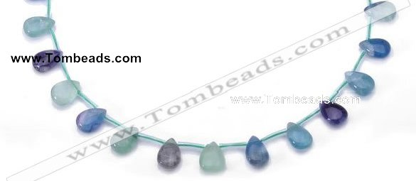 CFL35 8*12mm teardrop B grade natural fluorite beads Wholesale