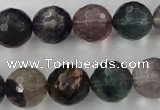 CFL406 15.5 inches 14mm faceted round rainbow fluorite beads