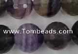CFL408 15.5 inches 20mm faceted round rainbow fluorite beads