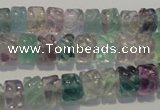 CFL471 15.5 inches 6*8mm carved rondelle natural fluorite beads