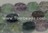 CFL475 15.5 inches 10*14mm carved rice natural fluorite beads