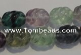 CFL476 15.5 inches 12*16mm carved rice natural fluorite beads