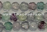CFL491 15.5 inches 10mm carved flower natural fluorite beads