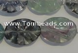 CFL498 15.5 inches 18*25mm wavy oval natural fluorite beads