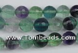 CFL53 15.5 inches 10mm faceted round AB grade natural fluorite beads