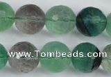 CFL56 15.5 inches 16mm faceted round AB grade natural fluorite beads