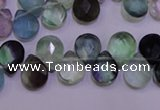 CFL705 Top-drilled 9*11mm faceted briolette natural fluorite beads