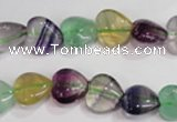 CFL788 15.5 inches 8mm heart rainbow fluorite gemstone beads