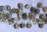 CFL963 Top drilled 10*14mm flat teardrop natural fluorite beads