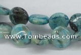 CFS107 15.5 inches 12mm flat round blue feldspar gemstone beads