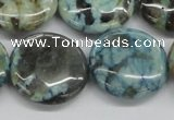 CFS108 15.5 inches 25mm flat round blue feldspar gemstone beads