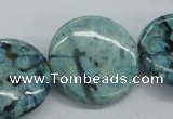 CFS109 15.5 inches 30mm flat round blue feldspar gemstone beads