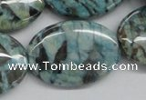 CFS114 15.5 inches 25*35mm oval blue feldspar gemstone beads