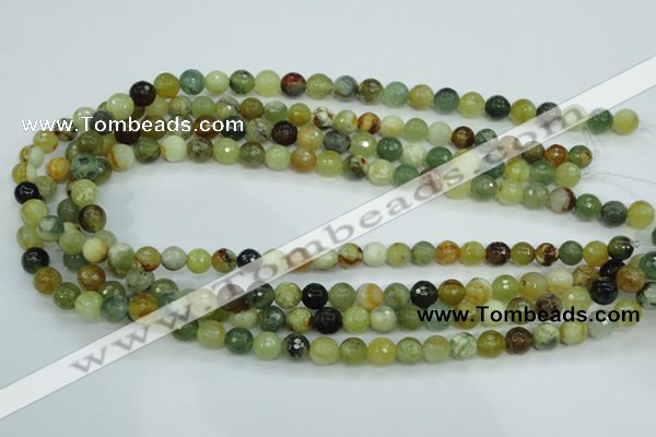CFW03 15.5 inches 8mm faceted round flower jade beads wholesale