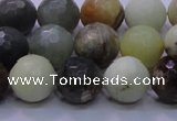 CFW05 15.5 inches 12mm faceted round flower jade beads wholesale