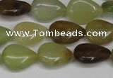 CFW121 15.5 inches 12*16mm flat teardrop flower jade gemstone beads