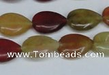 CFW122 15.5 inches 12*16mm flat teardrop flower jade gemstone beads
