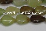 CFW123 15.5 inches 13*18mm flat teardrop flower jade gemstone beads