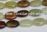CFW125 15.5 inches 10*14mm flat oval flower jade gemstone beads