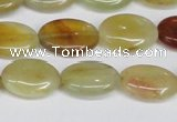 CFW127 15.5 inches 13*18mm flat oval flower jade gemstone beads