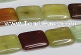 CFW150 15.5 inches 13*18mm rectangle flower jade gemstone beads