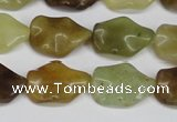 CFW164 15.5 inches 15*20mm wavy flower jade gemstone beads