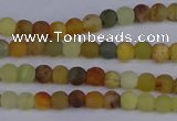 CFW200 15.5 inches 4mm round matte flower jade beads wholesale