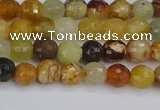 CFW210 15.5 inches 4mm faceted round flower jade beads