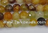 CFW211 15.5 inches 6mm faceted round flower jade beads