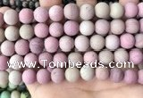 CFW38 15.5 inches 10mm round matte pink wooden jasper beads
