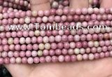 CFW44 15.5 inches 4mm round pink wooden jasper beads wholesale