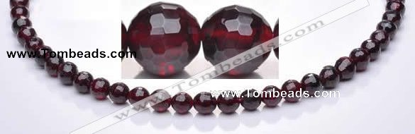 CGA08 multi sizes faceted round natural garnet gemstone beads Wh