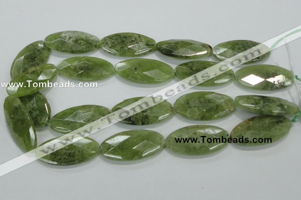 CGA106 15.5 inches 20*40mm faceted oval natural green garnet beads