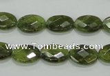 CGA107 15.5 inches 10*14mm faceted oval natural green garnet beads