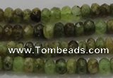 CGA146 15.5 inches 4*6mm faceted rondelle natural green garnet beads