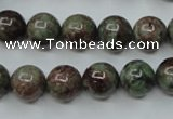 CGA305 15.5 inches 14mm round red green garnet gemstone beads