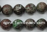 CGA316 15.5 inches 16mm faceted round red green garnet gemstone beads