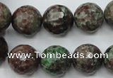 CGA317 15.5 inches 18mm faceted round red green garnet gemstone beads